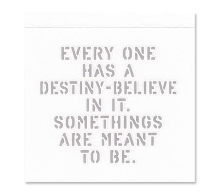 アメリカンミリタリーステンシル転写ステッカー「運命の存在を信じよう。そうなると決められている事もあるんだよ」