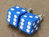ナンバープレートボルト(ライセンスボルト)2個セット/ダイス(サイコロ)/ブルー