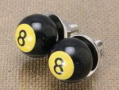 ナンバープレートボルト(ライセンスボルト)8ボールブラック2個セット