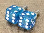 ナンバープレートボルト(ライセンスボルト)2個セット/ダイス(サイコロ)/グリッターブルー