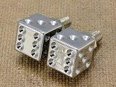 ナンバープレートボルト(ライセンスボルト)2個セット/クロームダイス(サイコロ)