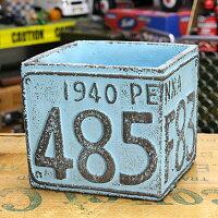 プランター(鉢)アメリカンアンティークナンバープレートブルーサイズS