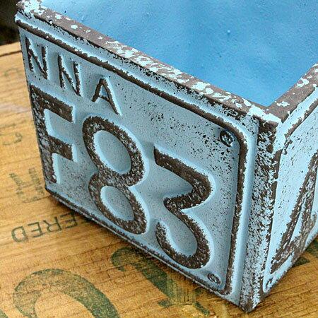プランター(鉢)アメリカンアンティークナンバープレートブルーサイズSの詳細