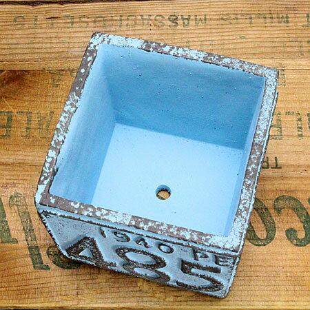 プランター(鉢)アメリカンアンティークナンバープレートブルーサイズSの底面