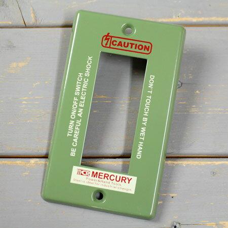 マーキュリー スイッチプレート スイッチカバー コンセントカバー コンセントプレート スチール製 オシャレ アメリカ アメリカン雑貨 MERCURY 3ヶ口 カーキ 【メール便OK】_MC-MESWPL3K-MCR