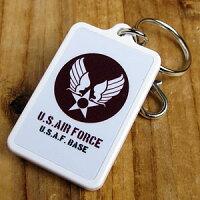 USエアフォース(アメリカ空軍)プラスチックキーホルダー/ブラウン