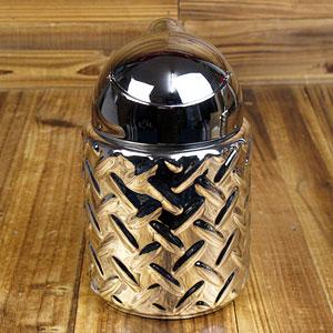 灰皿 フタ付 おしゃれ 陶器製 面白い 鋼板 メタリックドーム アメリカ アメリカン雑貨_SM-001-HYS