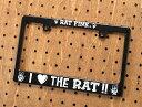 ナンバーフレーム ナンバープレート フレーム ラットフィンク(Rat Fink) バイク用 ブラック I LOVE THE RAT!! 【メール便OK】_NF-...
