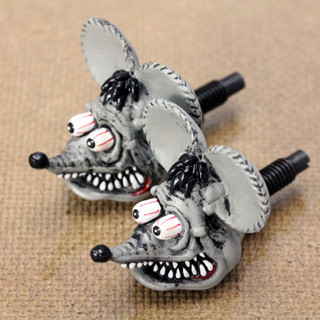 ラットフィンク(RATFINK)ナンバープレートボルト(ライセンスボルト)2個セットグレー
