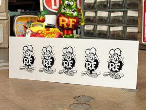 ラットフィンク ステッカー 車 アメリカン キャラクター おしゃれ バイク ヘルメット かっこいい ねずみ ホットロッド アメ車 カーステッカー RatFink USA モノクロ 5パック 【メール便OK】_SC-R