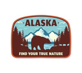 ステッカー アウトドア アメリカン おしゃれ スーツケース 車 バイク かっこいい Vintage Outdoor Budges 熊 山 風景 ALASKA 【メール便OK】_SC-VOB006-AHD