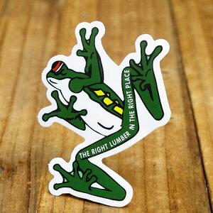 ステッカー 車 アメリカン おしゃれ バイク ヘルメット かっこいい ことわざ カーステッカー 蛙 動物 「適材適所」 【メール便OK】_SC-PS198-SXW