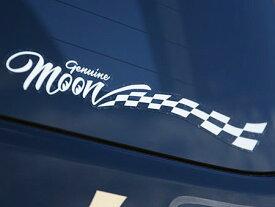 ムーンアイズ ステッカー 車 アメリカン おしゃれ かっこいい バイク カーステッカー MOONEYES GENUINE MOON CHECKER 【メール便OK】_SC-DM219WH-MON