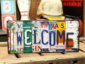 ウエルカムボード Welcome サインプレート アンティーク アメリカン ナンバープレート アメリカ アメリカン雑貨 【メール便OK】_SP-EM15004-FEE