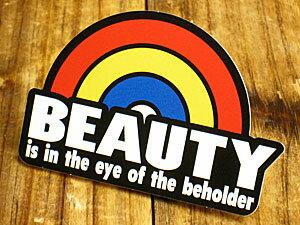 ステッカー 車 アメリカン おしゃれ バイク ヘルメット かっこいい ことわざ カーステッカー レインボー 虹 「美は見る人の中にある」 【メール便OK】_SC-PS071-SXW