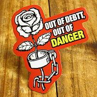 コトワザ(PROVERB)アメリカンステッカー/PS-136/「借金がなければ危険なし」