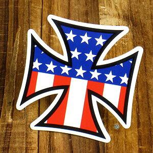 ステッカー アイアンクロス アメリカ国旗 車 アメリカン おしゃれ バイク ヘルメット かっこいい カーステッカー 【メール便OK】_SC-842-GEN