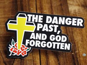 ステッカー 車 アメリカン おしゃれ バイク ヘルメット かっこいい ことわざ カーステッカー 十字架 「危険を過ぎると神を忘れる」 【メール便OK】_SC-PS031-SXW