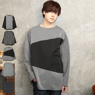 ◆Spring clothes are for spring in NIIRUS (Niels) TR change pullover shirt ◆ pullover shirt men cut-and-sew casual change lei yard long sleeves tops pattern check spring