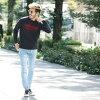 ◆Winter clothes are for winter in autumn in clothes autumn clothing winter in Sagara embroidery crew knit ◆ knit sweater men u neck crew neck English letter Sagara embroidery embroidery logo tops men fashion autumn