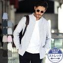 ◆roshell(ロシェル)オックスバンドカラーシャツ◆長袖シャツ メンズ カジュアルシャツ バンドカラー 白シャツ 長袖 …