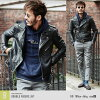 ◆roshell genuine leather jacket with 8 patterns◆men's outerwear/outer/leather jacket/men's jacket/biker jacket/genuine leather/women's/unisex/single/double