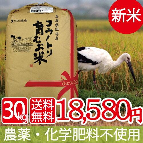 新米 無農薬 無化学肥料 米 生命を育むお米コウノトリ育むお米 送料無料 玄米 30kg 無農薬米 有機 肥料 コシヒカリ 西日本 兵庫県 但馬産 特A 平成30年産 無農薬米