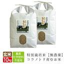 新米 無農薬 玄米 無農薬米 無化学肥料 送料無料 玄米 無農薬 10kg 5kg×2袋 食べる健康!食べる貢献! コウノトリ育…