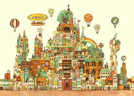 EPO-71-990s 西村典子 Art Puzzle Collection 空想の街 画材の王国 500ピース ジグソーパズル パズル Puzzle ギフト 誕生日 プレゼント
