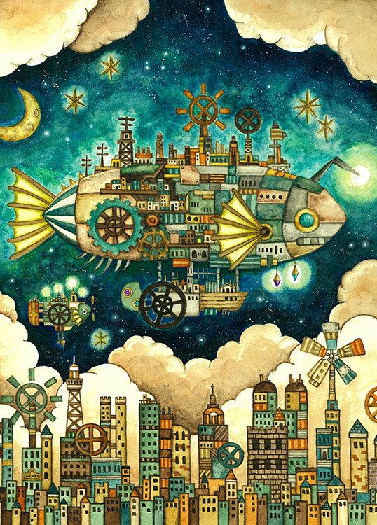 EPO-71-991s 西村典子 Art Puzzle Collection 空想の街 機械仕掛けの空飛ぶ魚の街 500ピース ジグソーパズル 【あす楽】 パズル Puzzle ギフト 誕生日 プレゼント