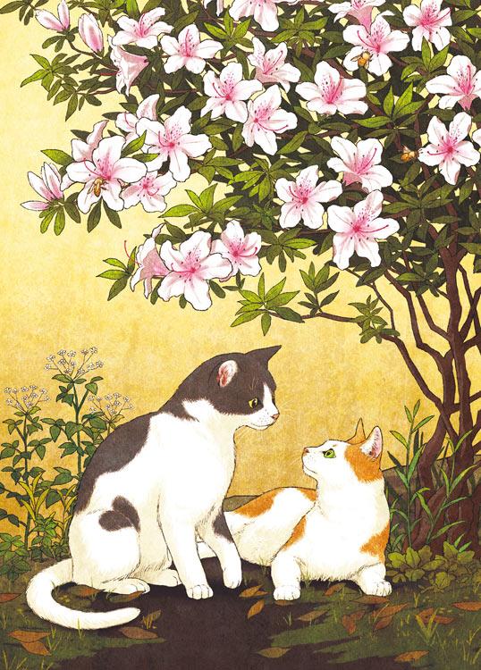 EPO-79-141s イラスト 猫とツツジ 500ピース ジグソーパズル 【あす楽】 パズル Puzzle ギフト 誕生日 プレゼント 誕生日プレゼント
