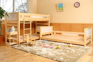 【国産】ひのき三段ベッド、組み合わせ