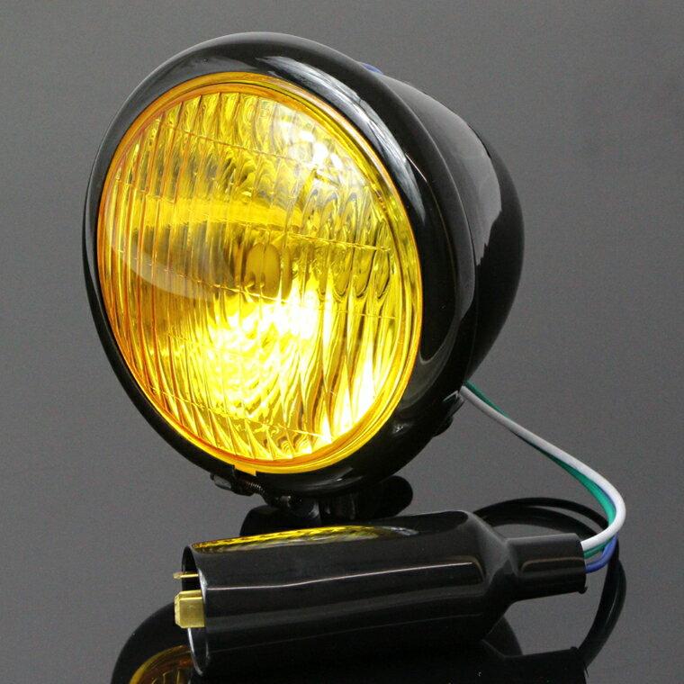 4.5インチ ベーツライト ヘッドライト ブラック × イエローレンズ ベイツライト 汎用 スティード シャドウ FTR223 GB250 エイプ モンキー リトルカブ ズーマー TW225 SR400 ドラッグスター 250 400 ボルティー グラストラッカー エストレア 250TR バルカン W650 W400
