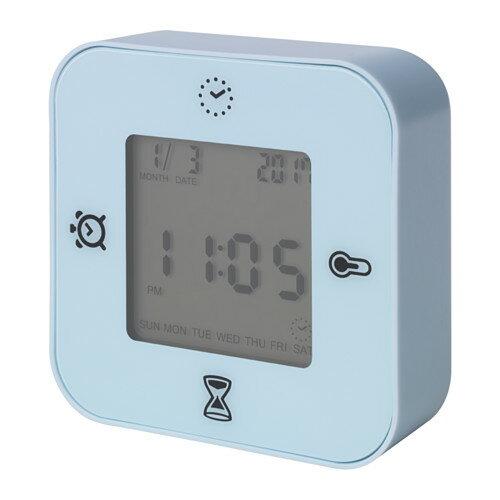 IKEA(イケア)KLOCKIS(ライトブルー )時計/ 温度計/アラーム/タイマー時刻/日付 温度 タイマー カウントダウンの4つの機能 置き時計