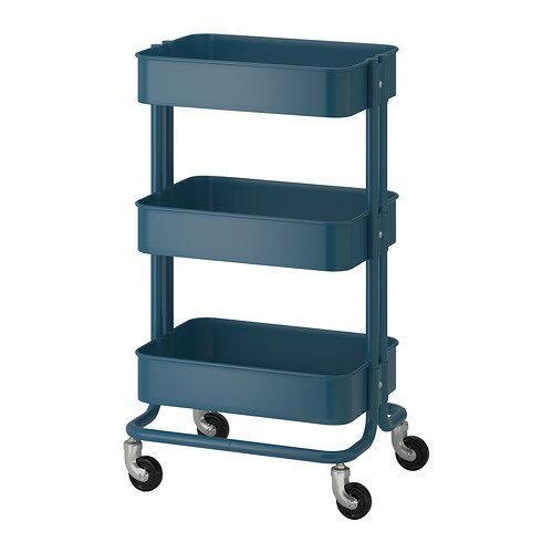 【送料無料】IKEA(イケア)RASKOG ワゴン ダークブルーキャスター付きで移動も簡単ベッドサイドテーブルキッチンワゴン キャスター付き ロースコグ 904.017.91