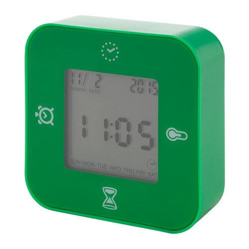 IKEA(イケア)LOTTORP(グリーン)時計/ 温度計/アラーム/タイマー時刻/日付 温度 タイマー カウントダウンの4つの機能 置き時計