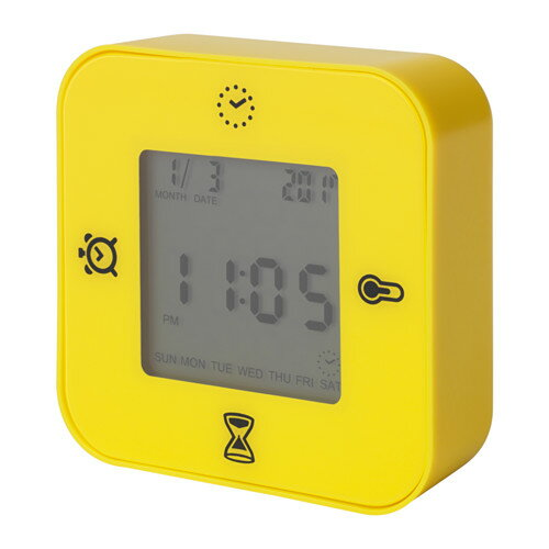 IKEA(イケア)KLOCKIS(イエロー)時計/ 温度計/アラーム/タイマー時刻/日付 温度 タイマー カウントダウンの4つの機能 置き時計