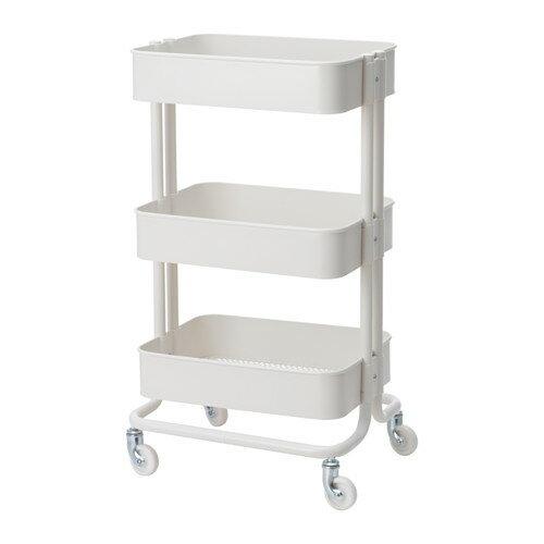 【送料無料】IKEA(イケア)RASKOG ワゴン ホワイトキャスター付きで移動も簡単ベッドサイドテーブルキッチンワゴン キャスター付き ロースコグ 703.767.21