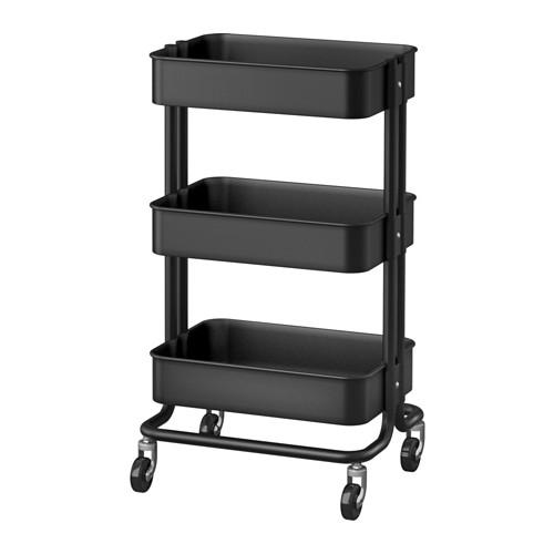 【送料無料】IKEA(イケア)RASKOGワゴン/ブラックキャスター付きで移動も簡単ベッドサイドテーブルキッチンワゴン ロスコーグ 703.339.77 ロースコグ