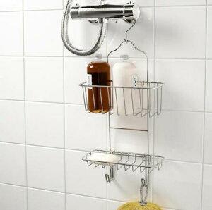 IKEA(イケア)IMMELN インメン シャワーハンガー2段 亜鉛メッキ 新生活 24x53 cmシャワーフックなどにかけて使用