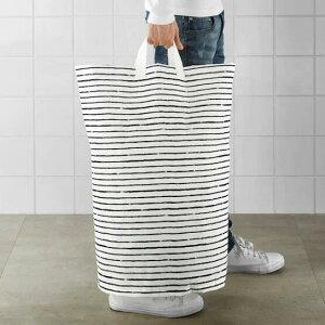IKEA(イケア)KLUNKA クルンカランドリーバッグ ホワイト ブラック60 l 洗濯 おもちゃ収納 コンパクト収納 バスケット モノトーン 収納