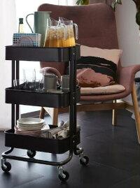 【送料無料】IKEA(イケア)RASKOGワゴンブラック北海道・沖縄・離島は別途送料¥1950ベッドサイドテーブルキッチンワゴンロスコーグ703.339.77ロースコグ