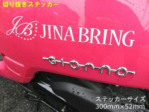 送料無料 大きめサイズの切り抜きタイプ【JINA BRING】オリジナルステッカー貼って下さい☆300mm×52mm