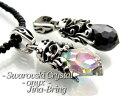 送料無料 【Swarovski Crystal】ティアドロップペンダント◇アラベスク/オニキス◇シルバー925 ネックレス メンズ レ…