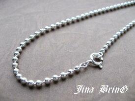 メール便 送料無料 ジナブリング (JINA BRING) 2mm シルバー925 ボールチェーン ネックレス シルバーチェーン メンズ レディース