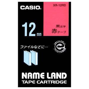 XR-12RD カシオ ネームランド用テープカートリッジ・スタンダードテープ 黒文字/赤テ−プ 12mm