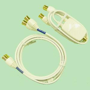 SRSS15-P マスプロ BS・CS / UHF分波器・ケーブルセット 【ケーブル:1.5m、出力:0.5m】 ケーブル:F型プッシュプラグ、入力:F型端子、出力:F型プッシュプラグ [SRSS15P]【返品種別A】