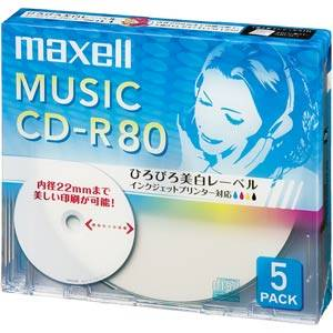 CDRA80WP.5S マクセル 音楽用CD-R80分5枚パック [CDRA80WP5S]【返品種別A】