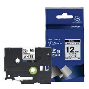 TZe-231 ブラザー P-Touch用・ラミネートテープ 白/黒文字 12mm