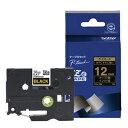 TZe-334 ブラザー P-Touch用・ラミネートテープ 黒/金文字 12mm